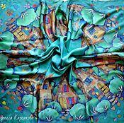 Шарфы ручной работы. Ярмарка Мастеров - ручная работа Батик платок Сказочный городок. Handmade.
