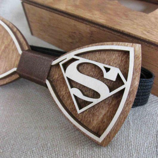 """Галстуки, бабочки ручной работы. Ярмарка Мастеров - ручная работа. Купить Галстук-бабочка из дерева """"Супермен"""". Handmade. Комбинированный"""