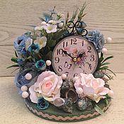 """Для дома и интерьера ручной работы. Ярмарка Мастеров - ручная работа Часы с цветами""""Голубые розы"""". Handmade."""