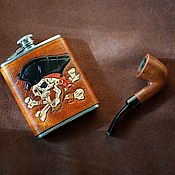 Посуда handmade. Livemaster - original item Flask with leather cover. Handmade.