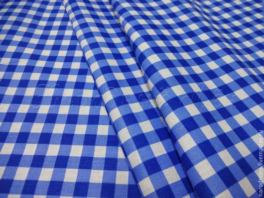 Шитье ручной работы. Ярмарка Мастеров - ручная работа. Купить Ткань хлопковая плательная синяя клетка. Handmade. Ткань