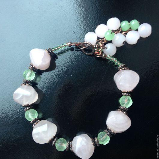 """Браслеты ручной работы. Ярмарка Мастеров - ручная работа. Купить Браслет """"Сюзанна"""". Handmade. Розовый, зеленый, украшение на руку"""