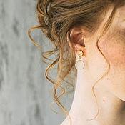 Свадебный салон ручной работы. Ярмарка Мастеров - ручная работа Серьги под золото, розовый камень, серьги со стразами. Handmade.