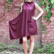 Одежда handmade. Livemaster - original item Tunic Cape with knit slim pocket sleeveless Bordeaux. Handmade.