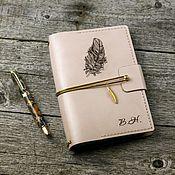 Канцелярские товары handmade. Livemaster - original item Leather notebook with removable blocks and engraving. Handmade.