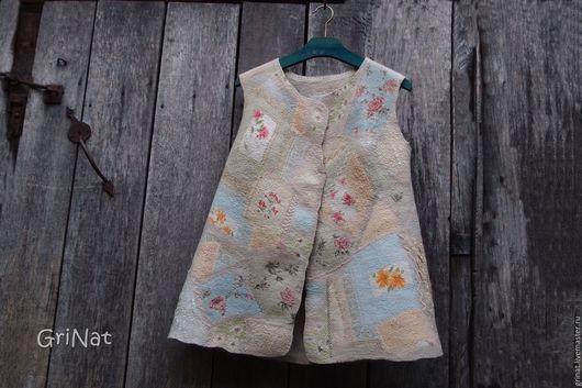 """Жилеты ручной работы. Ярмарка Мастеров - ручная работа. Купить Жилет """"Лоскутная мозаика"""". Handmade. Комбинированный, grinat, дизайнерская одежда"""