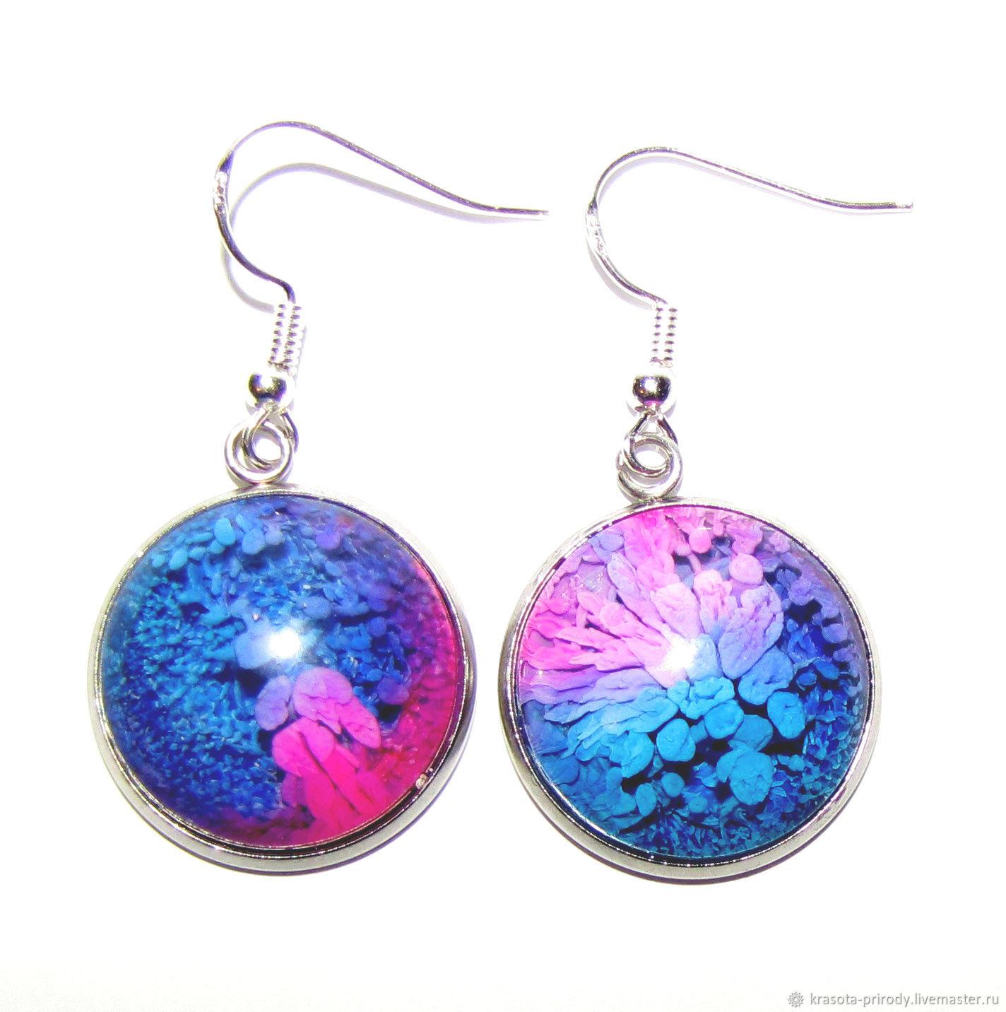 2 cm epoxy resin earrings. Earrings silver, Earrings, Moscow,  Фото №1