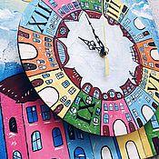 """Картины и панно ручной работы. Ярмарка Мастеров - ручная работа Комплект """"Городок"""" в детскую ( картина и часы). Handmade."""