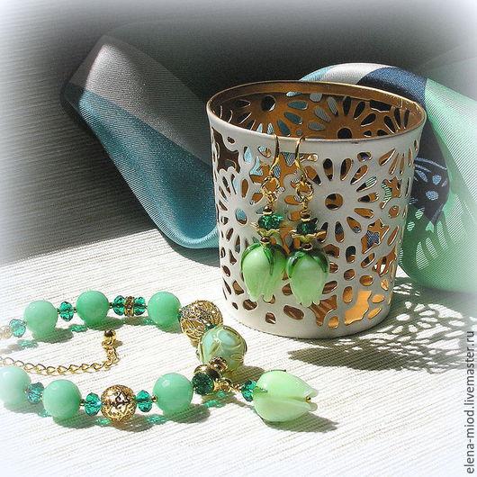 """Комплекты украшений ручной работы. Ярмарка Мастеров - ручная работа. Купить Комплект """"Mint Flowers"""": лампворк, агат, позолота, хрусталь. Handmade."""