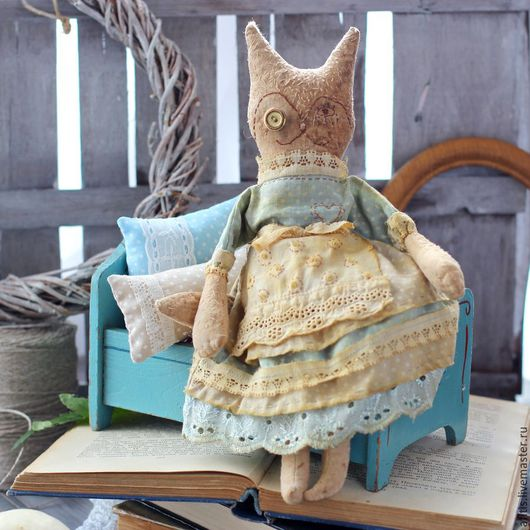 Ароматизированные куклы ручной работы. Ярмарка Мастеров - ручная работа. Купить Винтажная кошка. Кофейная игрушка. Примитив.. Handmade. Бежевый