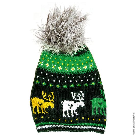 """Шапка с помпоном """"Кельтские олени"""" (05-39) Hat with pompon """"Celtic deer"""" (05-39) Длинна (до помпона) 32 см, 1 шт. Цена 2800 руб. (36 EUR)"""