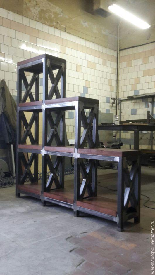 Мебель ручной работы. Ярмарка Мастеров - ручная работа. Купить Х Стеллаж в Индустриальном стиле. Handmade. Коричневый, массив березы