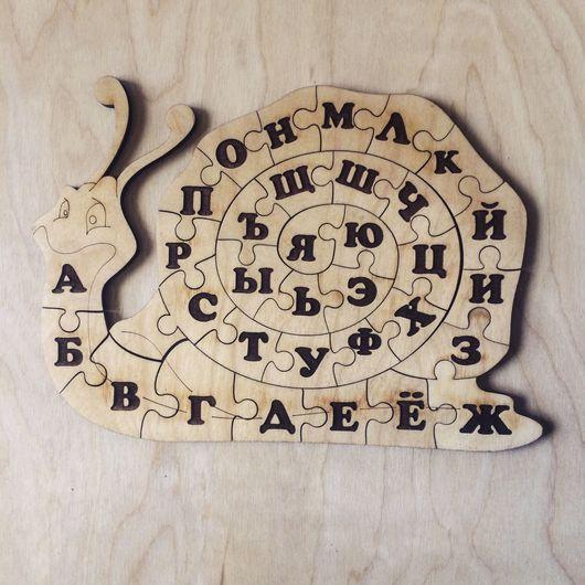 Развивающие игрушки ручной работы. Ярмарка Мастеров - ручная работа. Купить Улитка-пазл-алфавит. Handmade. Развивающая игрушка