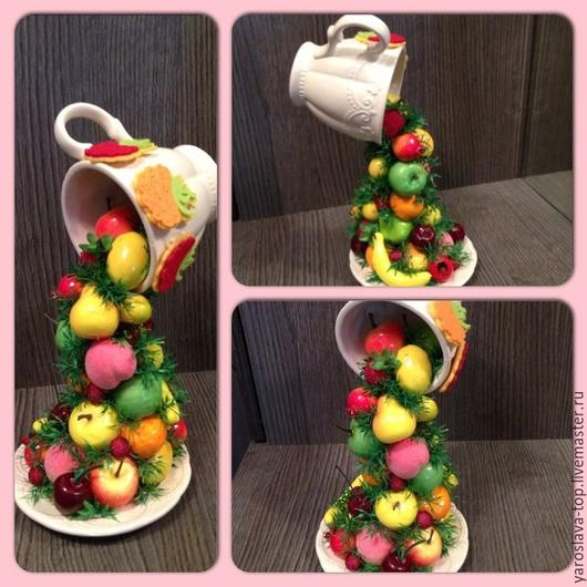 Купить Парящая чашка - разноцветный, парящая чашка, фруктовая чашка, искусственные фрукты, флористика