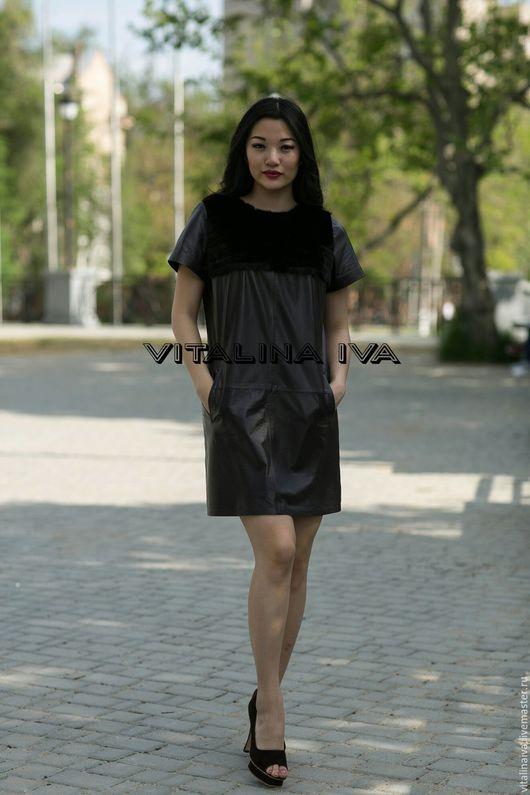 Платья ручной работы. Ярмарка Мастеров - ручная работа. Купить Платье-туника. Handmade. Бордовый, кожаное платье, пошив одежды