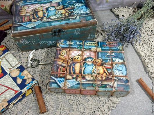 """Детская ручной работы. Ярмарка Мастеров - ручная работа. Купить """"Винтажное детство"""" Азбука. Handmade. Кубики, для мальчика, подарок для ребенка"""