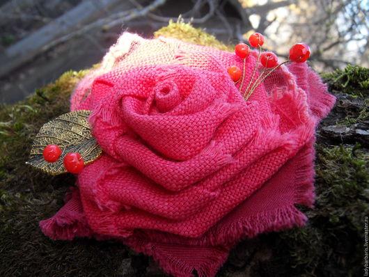 """Броши ручной работы. Ярмарка Мастеров - ручная работа. Купить """"Арагонская роза"""" текстильная брошь. Handmade. Коралловый, Авторский дизайн"""