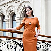 Одежда handmade. Livemaster - original item New - Jersey Dress with pockets - colour red. Handmade.