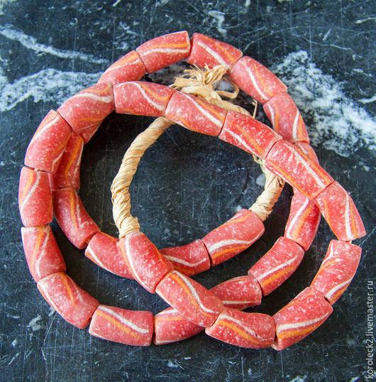 Для украшений ручной работы. Ярмарка Мастеров - ручная работа. Купить Красно-оранжевые с полосками стеклянные бусины-трубочки 22 мм. Handmade.