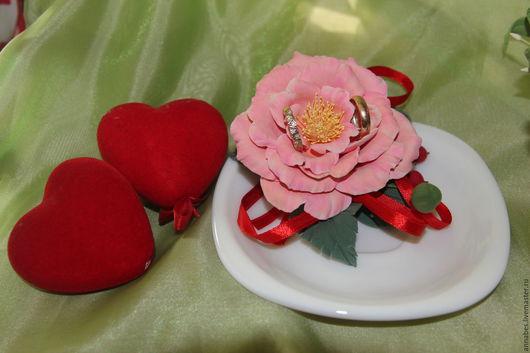 Свадебные аксессуары ручной работы. Ярмарка Мастеров - ручная работа. Купить Тарелочка для колец. Handmade. Коралловый, роза