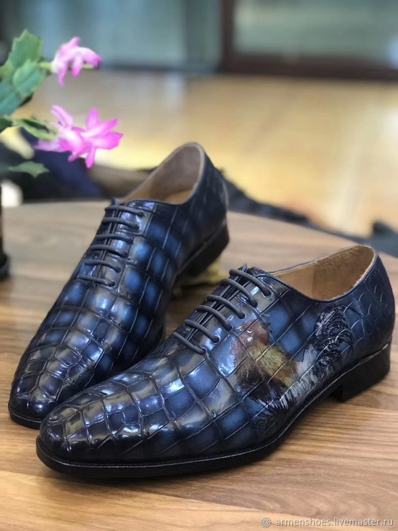 Oxfords made of crocodile skin hand painted with drawing, Oxfords, Tosno,  Фото №1