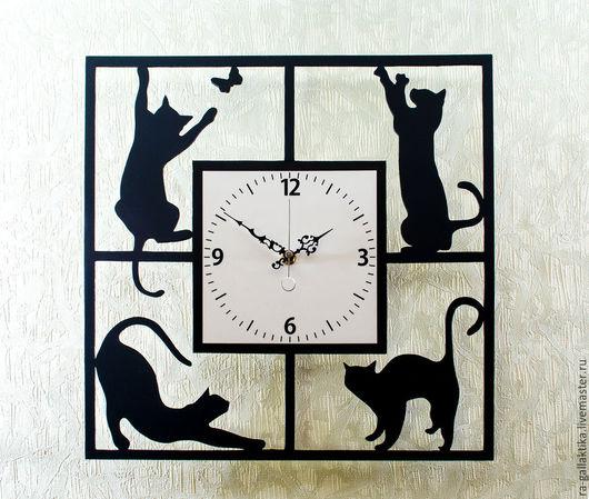 """Часы для дома ручной работы. Ярмарка Мастеров - ручная работа. Купить Часы настенные """"Кошки в квадрате"""". Handmade. Часы настенные"""