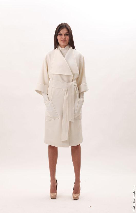 Пальто `Касабланка` молочное в рубчик 77703