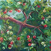 Картины и панно ручной работы. Ярмарка Мастеров - ручная работа Картина маслом Райские яблочки. Handmade.