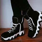 Обувь ручной работы handmade. Livemaster - original item Felted boots Black and White. Handmade.