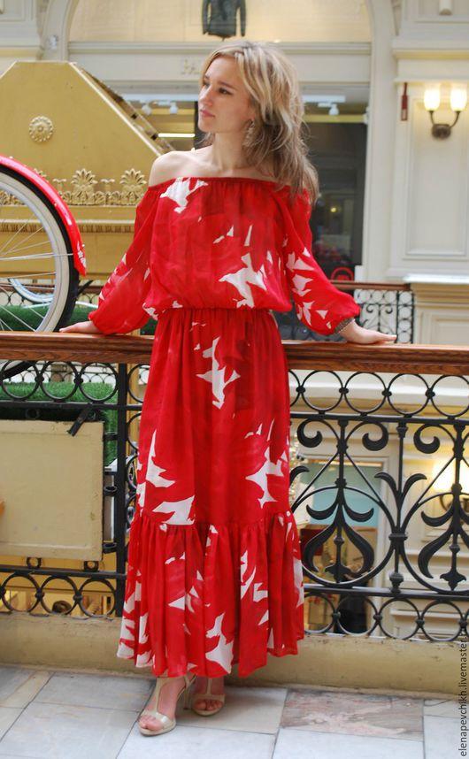 Платья ручной работы. Ярмарка Мастеров - ручная работа. Купить Шифоновое 50,52,54 яркое платье в пол.. Handmade.