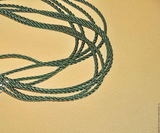 Для украшений ручной работы. Ярмарка Мастеров - ручная работа. Купить Шнурок из синтетического шелка. Handmade. Зеленый, шнур, шнурок