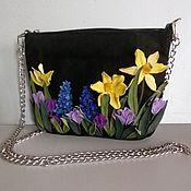 Сумки и аксессуары handmade. Livemaster - original item Leather bag .Bag with applique.Mini Celebration of Spring black. Handmade.