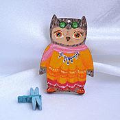 Украшения handmade. Livemaster - original item The wooden owl brooch fashionista Stacy based on the owls of Inga paltser. Handmade.
