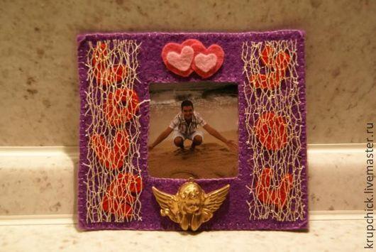 """Подарки для влюбленных ручной работы. Ярмарка Мастеров - ручная работа. Купить Магнитная фоторамка """"Love you"""". Handmade. Тёмно-фиолетовый"""
