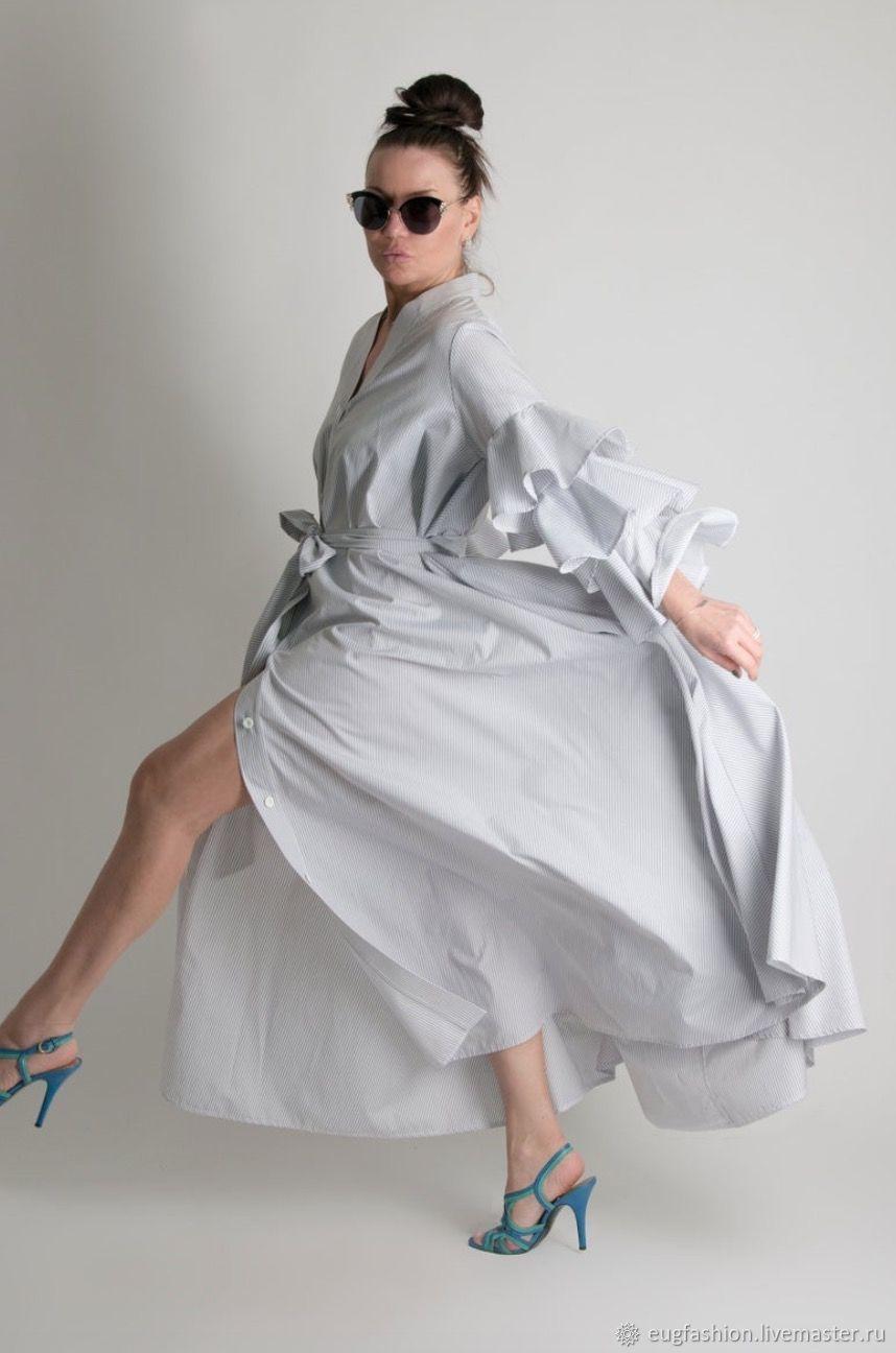 Long shirt dress,made of cotton - KA0193CT, Dresses, Sofia,  Фото №1