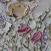 Картины и панно handmade. Livemaster - original item Painting flowers landscape with white pink roses lavender Moscow. Handmade.