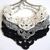 Украшения handmade. Livemaster - original item Necklace made of linen knitted openwork linen necklace boho necklace. Handmade.