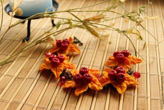 """Браслеты ручной работы. Ярмарка Мастеров - ручная работа. Купить Браслет """"Осенняя романтика"""". Handmade. Оранжевый, Рябина, подарочная коробочка"""