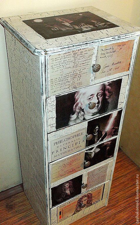 """Мебель ручной работы. Ярмарка Мастеров - ручная работа. Купить Комод-тумба """"Исаак Ньютон!"""". Handmade. Чёрно-белый, старение"""