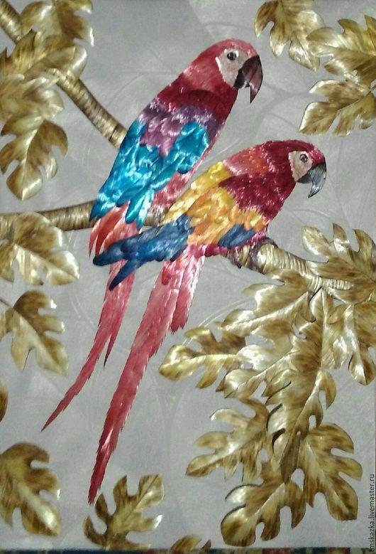 """Животные ручной работы. Ярмарка Мастеров - ручная работа. Купить Панно """" Пара Ара"""". Handmade. Панно, попугай, обои"""