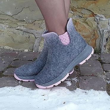 Обувь ручной работы. Ярмарка Мастеров - ручная работа Эко ботиночки из шерсти двухцветные Челси. Handmade.
