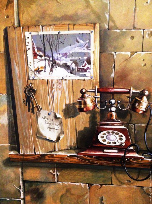 эта стена напротив входной двери, стариный телефон, доска для записок и ключей, само собой тут записки и ключи и вырванный лист календаря с репродукцией любимого Брейгеля