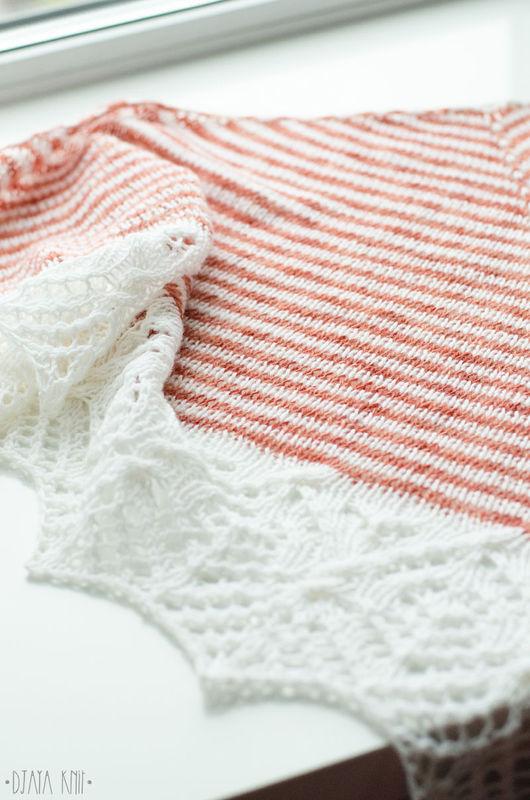 Одежда и аксессуары ручной работы. Ярмарка Мастеров - ручная работа. Купить Шаль полосатая с белой каймой. Handmade. Кремовый