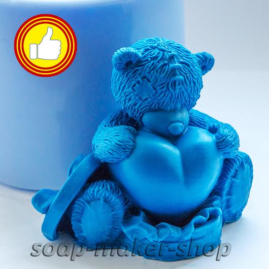 Материалы для косметики ручной работы. Ярмарка Мастеров - ручная работа. Купить Силиконовая форма для мыла «Тедди с сердцем 2». Handmade.