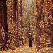 Картины и панно handmade. Livemaster - original item Picture: A woman walking along a forest path, V. Polenov, a copy.. Handmade.