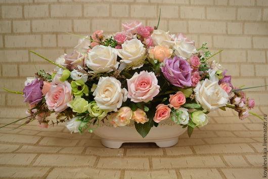 Интерьерные композиции ручной работы. Ярмарка Мастеров - ручная работа. Купить Роскошные,винтажные розы. Handmade. Бледно-розовый, для девушки