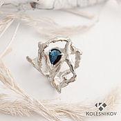 Украшения handmade. Livemaster - original item Wild forest silver ring, sapphire. Handmade.