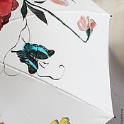 """Аксессуары ручной работы. Ярмарка Мастеров - ручная работа Расписной зонт """"Красные цветы и бабочки"""". Handmade."""