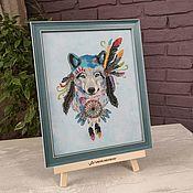 Картины и панно handmade. Livemaster - original item Picture cross stitch Wolf Dreamcatcher, cross stitch. Handmade.