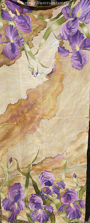 Scarves handmade. Livemaster - handmade. Buy Silk scarf 'Irises'.Scarf, gift girl, purple